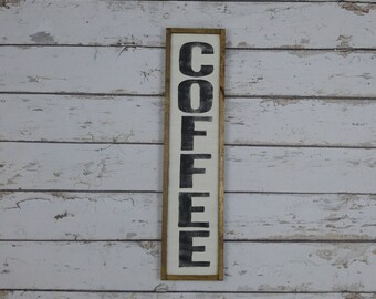 Coffee Sign, Coffee Bar Sign, Farmhouse Decor, Wood Coffee Sign, Custom Wood Sign, Kitchen Sign, Framed Wood Sign, Vertical Sign