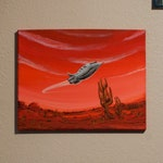 "Original ""Martian Spaceship"" Handmade 16""x12"" Painting, Scifi Art"