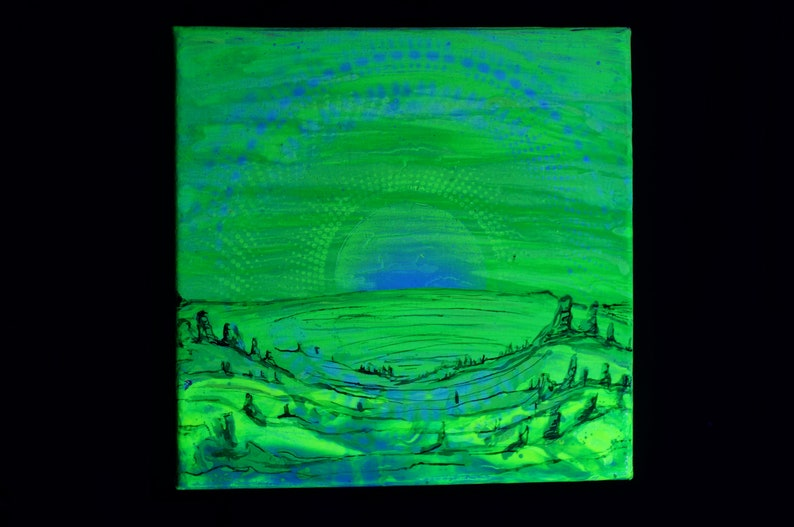 Alien Green Sunrise Original Handmade 10x10 Fluorescent Spraypaint Blacklight Art
