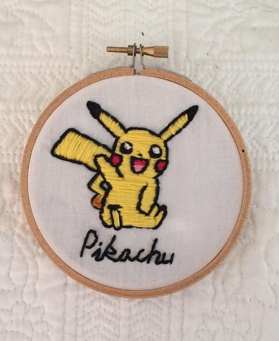 Hoop Cross Stitch Surprised Pikachu FINISHED 4\u201d Hoop