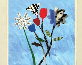 Framed Giclée Fine Art Print, Birthday Bouquet