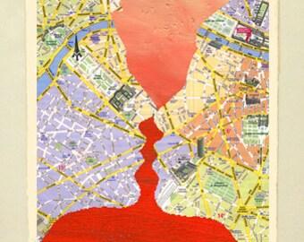 Framed Giclée Fine Art Print, French Kiss