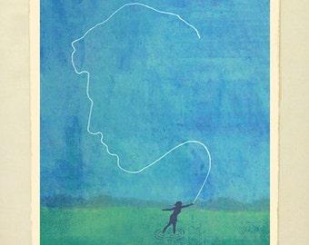 "Framed Giclée Fine Art Print, Gone Fishin"""