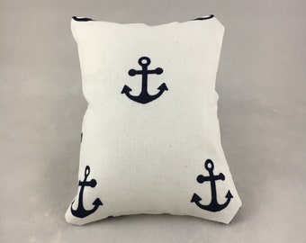 White with Navy Blue Anchors Display Pillow, Small