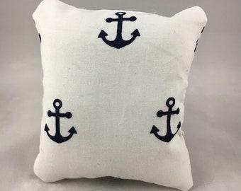 White Navy Anchor Display Pillow, Medium