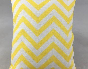 White and Yellow Chevron Display Pillow, Medium