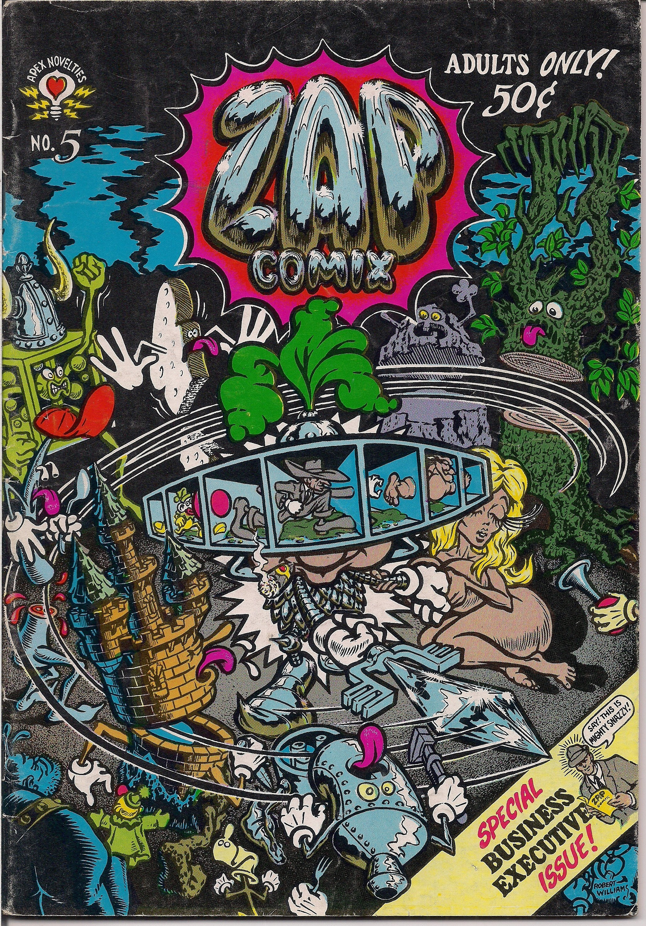ZAP Comix #5 1st Robert CRUMB,(C) Moscoso,Robt Williams,Freak Bros,Wonder  Warthog, Apex Novelty ADULT Dope Drugs Sex Psychedelic Underground