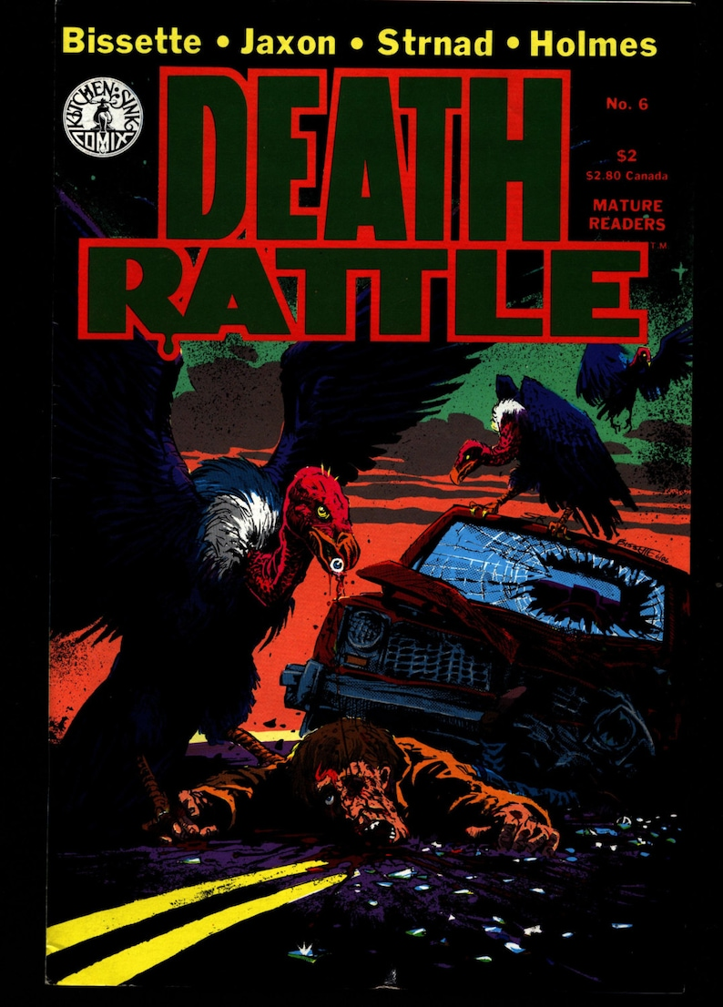 DEATH RATTLE #6 Tom Veitch Steve Bissette Jack Jackson Jaxon Rand Holmes  Jan Strnad Fantasy Psychedelic Underground Anthology Comic