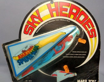 Marvel Comics, The Amazing SPIDER-MAN, Sky Heroes, Marx Toys, 1977, Flying Super Hero sling shot,Unopened and still sealed