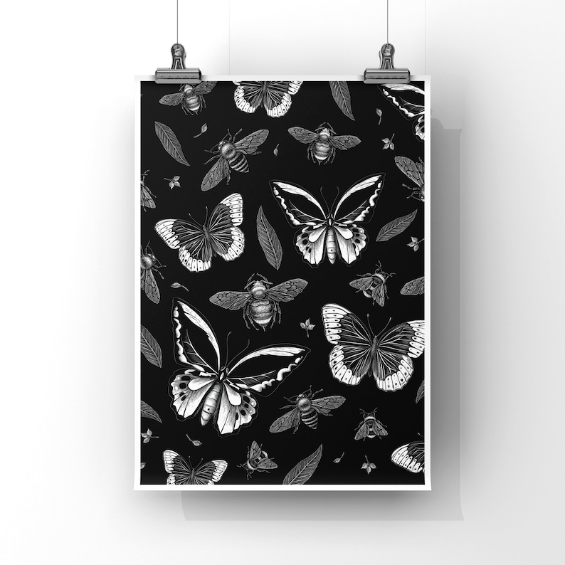 BEES AND BUTTERFLIES art print image 0