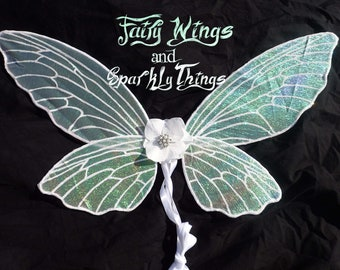 df74a63b71 Iridescent child fairy wings with rhinestone flower accents perfect for flower  girl gift for a fairytale wedding or costume- Made to order