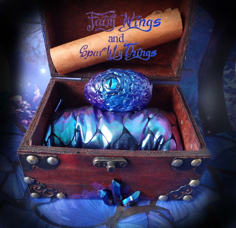 OOAK Blue fairy dragon egg with keepsake treasure chest display with  details about your dragon GOT inspired hatching dragon -Ready to ship