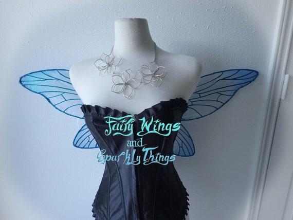 Ailes de holographique fées irisé holographique de libellule adulte bleu avec des accents de strass idéal pour costume de cosplay ou fée - prêt à être posté! d39500