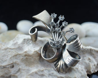 925 Sterling Silver Jewelry Vintage flower bouquet Bow leaves circa  pin brooch  Art Deco st279