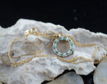Sterling 925 Necklace Chain Italy Pendant  Vintage Art Deco Pendant cz green sparkle Jewelry choker anchor  design gold vermeil  st196