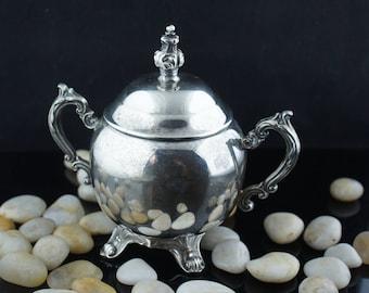 Antique Victorian  Silver Sugar Bowl F.B Rogers smooth design silver tone 1950s