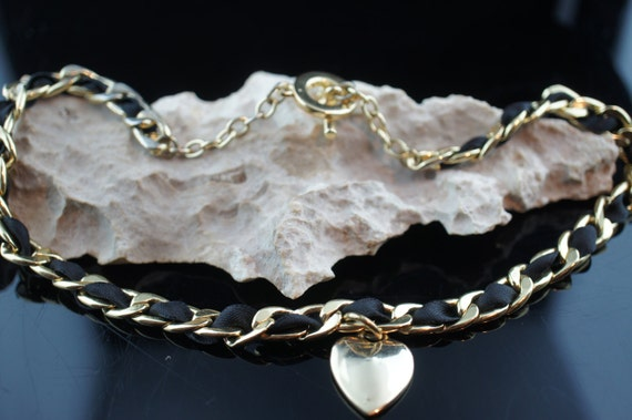 c15751769ac33 Necklace chain choker ring in ring design with black fabric charm gold  heart Vintage Art Deco choker gift circa Modernist p213