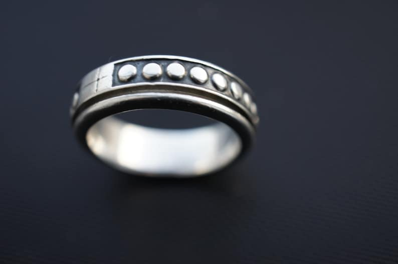 Vintage Sterling Silver 925 Ring Band With Movable Middle part signed Mexico Man Men Size 12 925 Z-242
