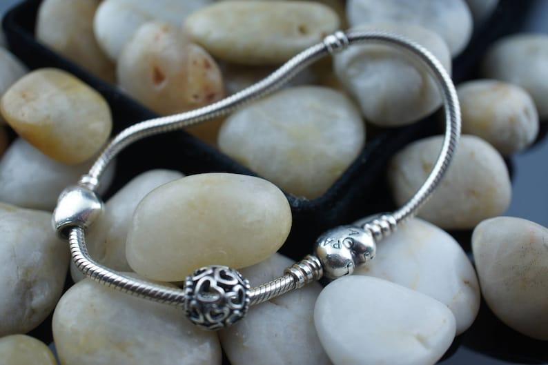 7243903f03b PANDORA 925 STERLING charm bracelet Vintage Art Deco bracelet heart-clasp  heart charm beads ball chain bracelet Modern Design circa dd90