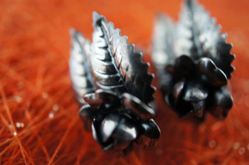 Art Deco Jewelry Vintage screw back  earrings flower  handmade 925 Sterling Silver Earrings rose leaves circa minimalist d184