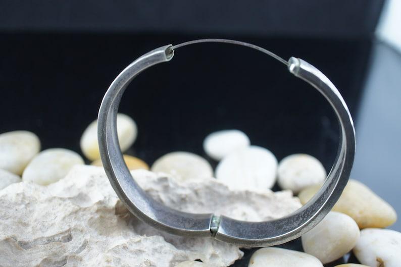 WEH SS 925 Bracelet Vintage Art Deco Hollow Sterling Silver Hinged Bangle Bracelet Diamond cut With Safety Key st348