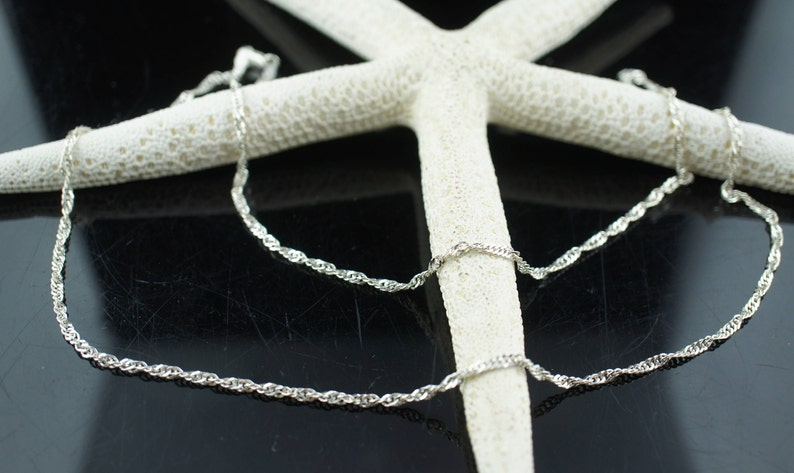 Itaor Sterling silver 925  Italy chain necklace twisted singapore design 24/'/' long  Vintage Jewelry Art Deco gift cc83