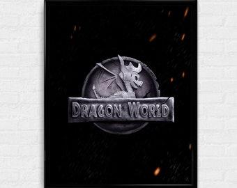 Dragon World - Spyro / Jurassic World inspired art mash up print