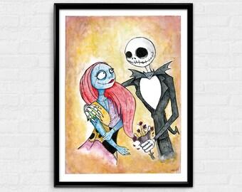 A Nightmare Romance - The Nightmare Before Christmas inspired art print