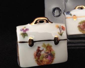 miniature porcelain briefcase Limoges France vintage