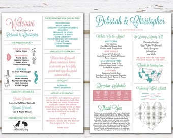 Printable Fun Infographic Wedding Program, Unique Wedding Program, Fun Program, Modern Program, Entertaining, Fun Facts, Word Search, MB307