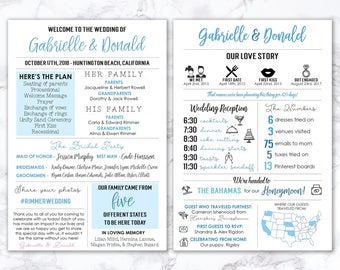 Printable Infographic Wedding Program, Unique Wedding Program, Fun Program, Modern Program, Entertaining, Fun Facts, Hashtag, MB199