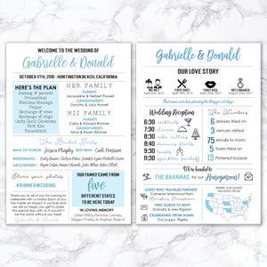 Fun Facts Printable Fun Infographic Wedding Program Modern Program Hashtag Unique Wedding Program MB246 Entertaining Fun Program