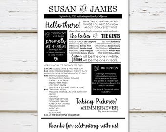Funny Wedding Programs Etsy - Wedding newspaper program template