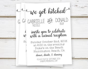 printed elopement reception invitations we said i do we did etsy
