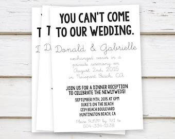 PRINTED Elopement Reception Invitation, Simple, You Canu0027t Come, Funny,  Eloped, Got Hitched, We Did, Reception Only, Married, Plain, MB066