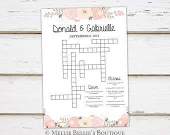 Printable Wedding Crossword Puzzle Game Games for Wedding | Etsy