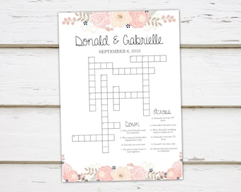 printable wedding crossword puzzle game games for wedding reception for kids activities floral rustic word search shower mb348