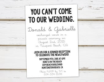Reception invitation etsy printable elopement reception invitation we got hitched you cant come funny we eloped tied the knot already married mb066 stopboris