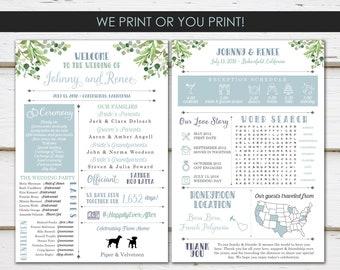 fun infographic wedding program unique wedding program fun program modern program greenery fun facts printable or printed mb366