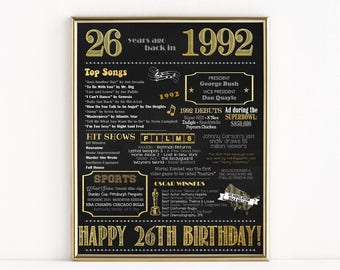 Printable 26th Birthday Chalkboard Sign Back In 1992 Gift Poster Digital Download MB206