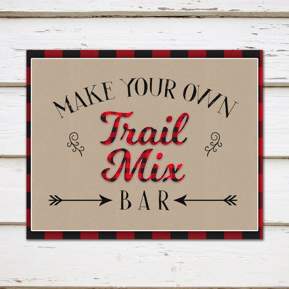 Printable Trail Mix Bar Sign Make Your Own Trail Mix Bar