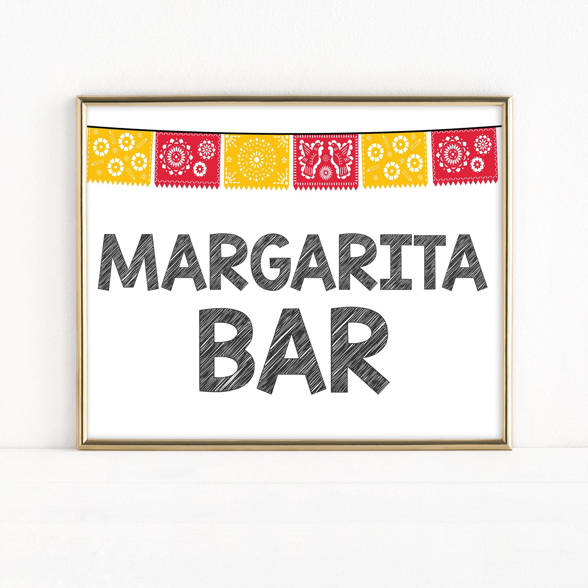 picture relating to Papel Picado Printable identified as Printable Cinco de Mayo Margarita Bar Indicator, Fiesta Occasion