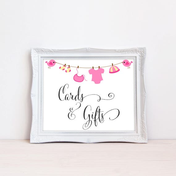 Printable Baby Shower Cards And Gifts Sign Gift Table Put Your Girl Baby Shower Clothes Line Baby Outfit Present Table Mb300 By Mellie Bellie S Boutique Catch My Party