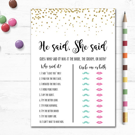 image regarding Printable Bridal Shower Game known as Printable Bridal Shower Sport, He explained She Reported, Partners Shower, Marriage ceremony, Bachelorette Social gathering, Bird, Gold Glitter, Instantaneous, Straightforward, MB003