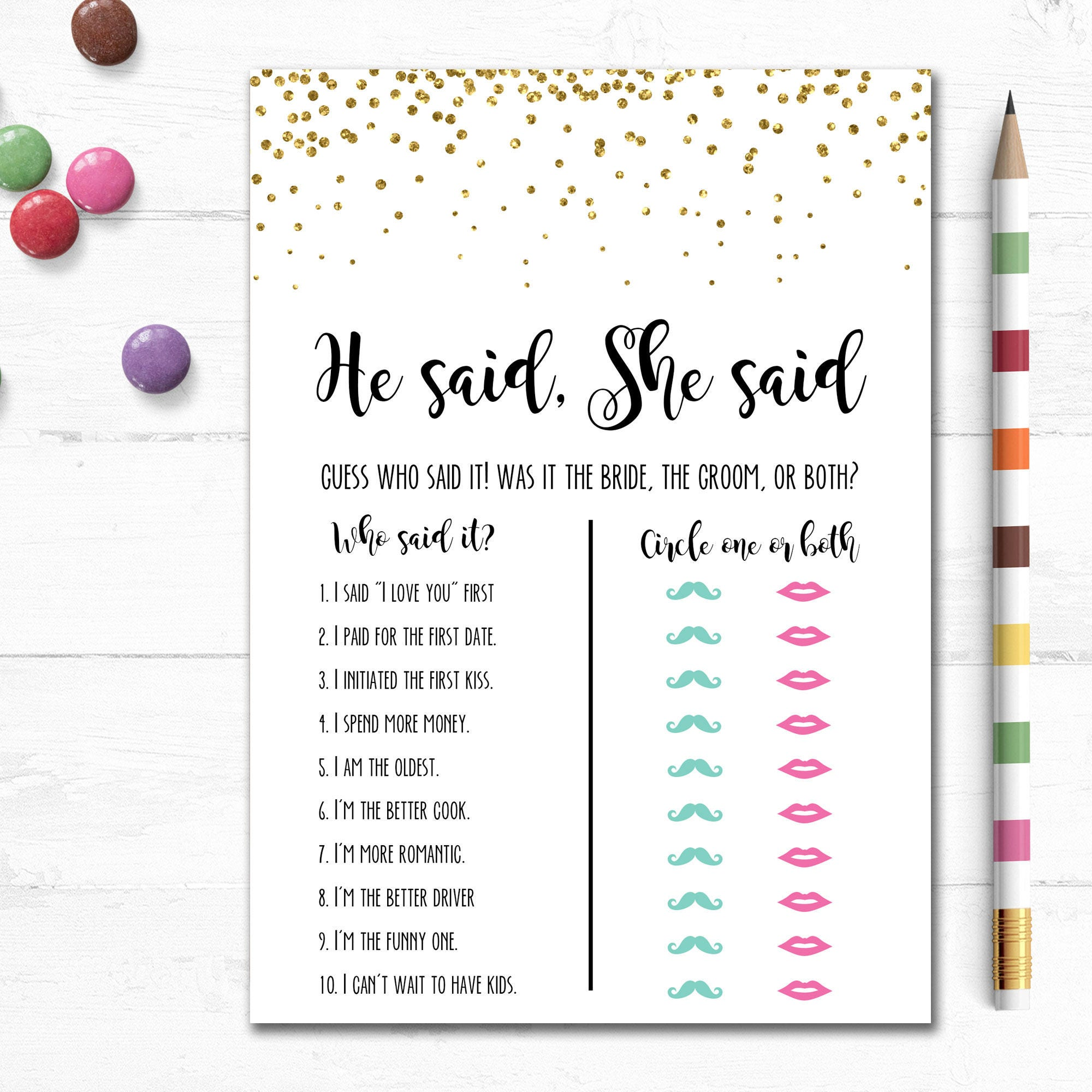 printable bridal shower game he said she said couples shower wedding bachelorette party hen gold glitter instant simple mb003