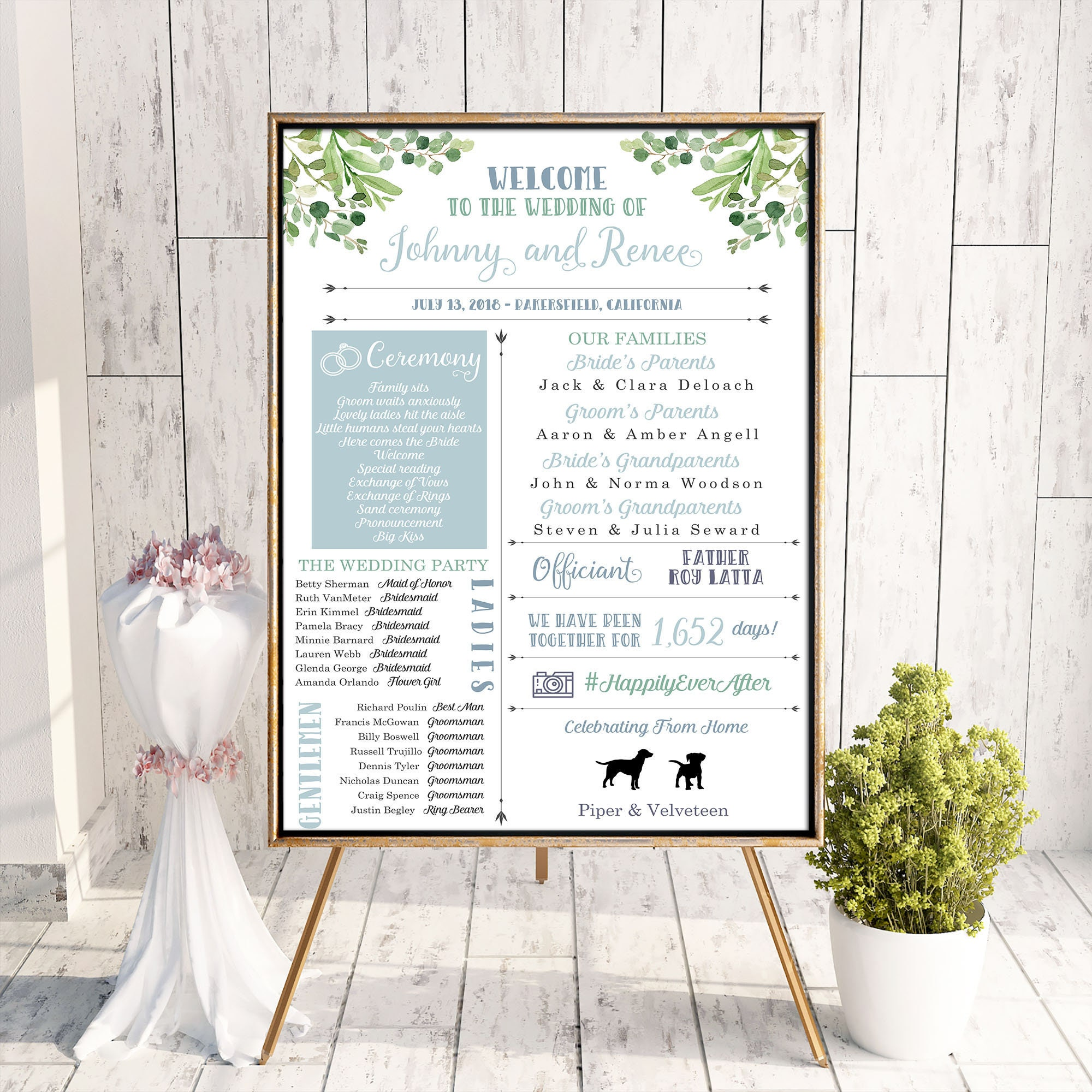 large format fun infographic wedding sign unique wedding program