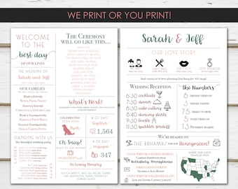 Fun Infographic Wedding Program, Unique Wedding Program, Fun Program, Modern Program, Entertaining, Fun Facts, Printable or PRINTED, MB345