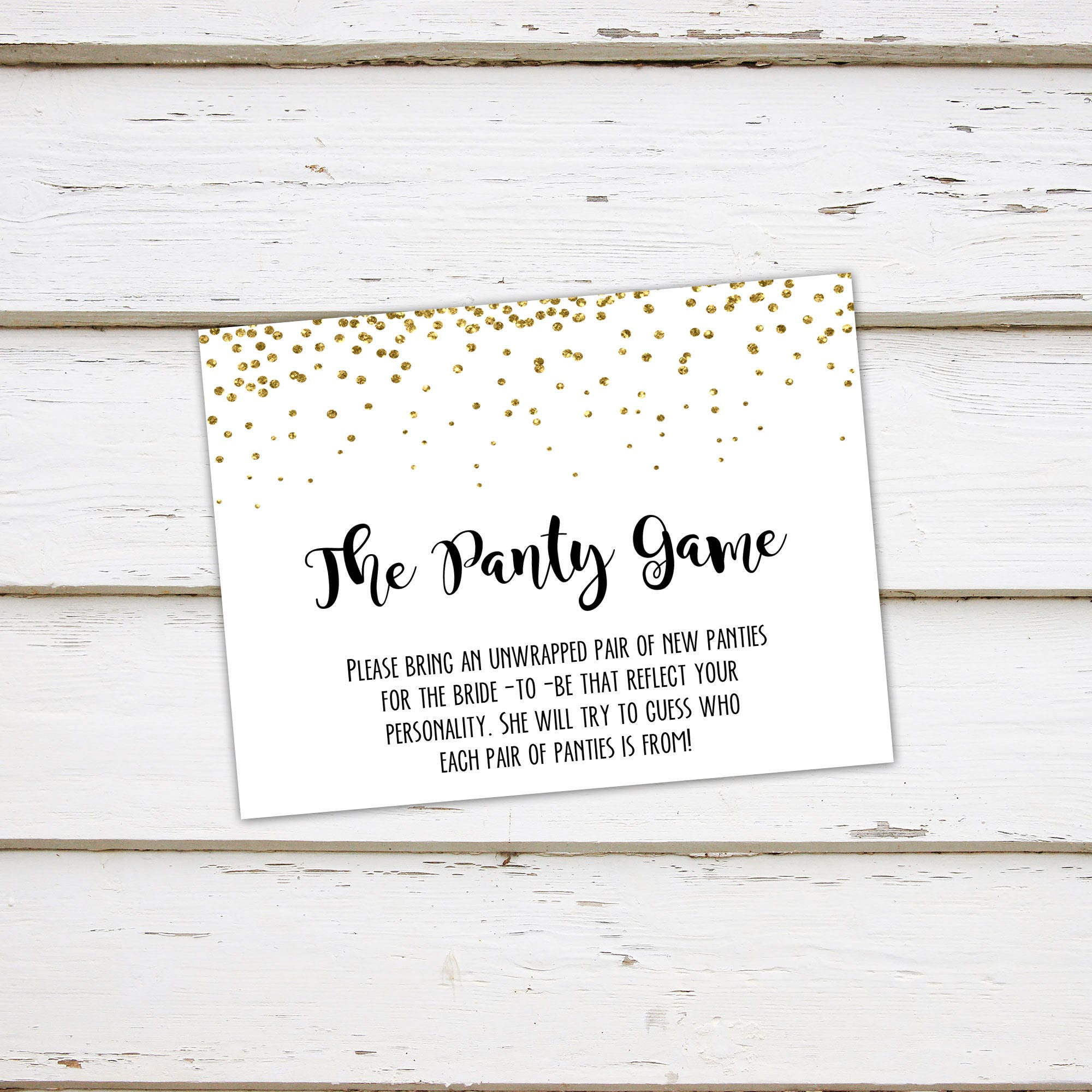 printable panty game lingerie shower drop your panties bring a pair of panties bachelorette party bridal shower game gold mb003