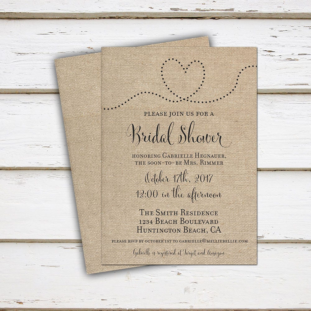 printable rustic bridal shower invitation burlap country bridal shower simple heart country woodsy calligraphy mb028