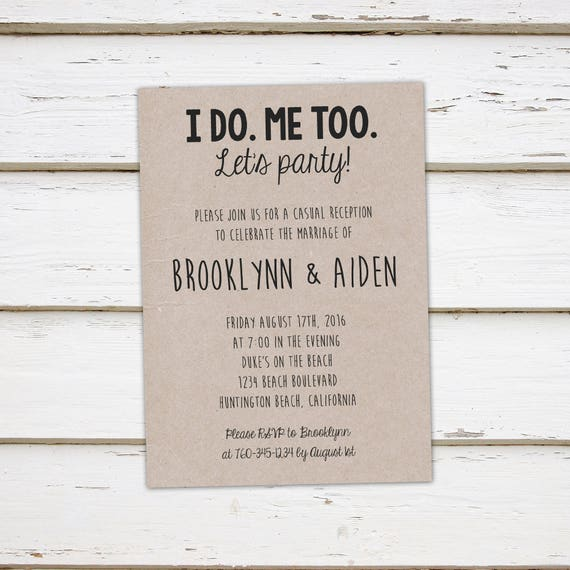 printable elopement reception invitation i do me too we etsy